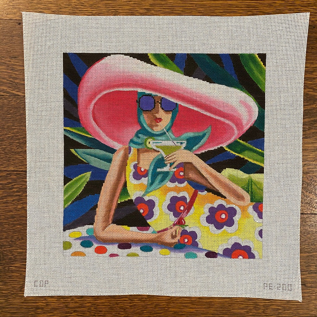 Sipping Cocktail Canvas - KC Needlepoint