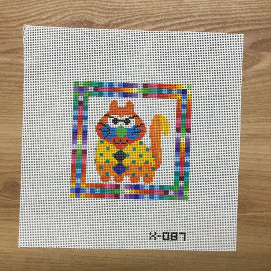 Yellow Body Cat Canvas - needlepoint