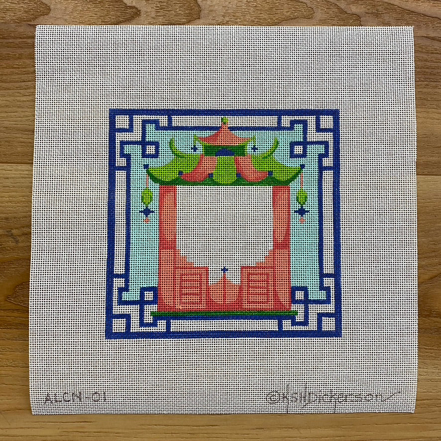 Coral Pagoda with Green Roof Canvas - KC Needlepoint