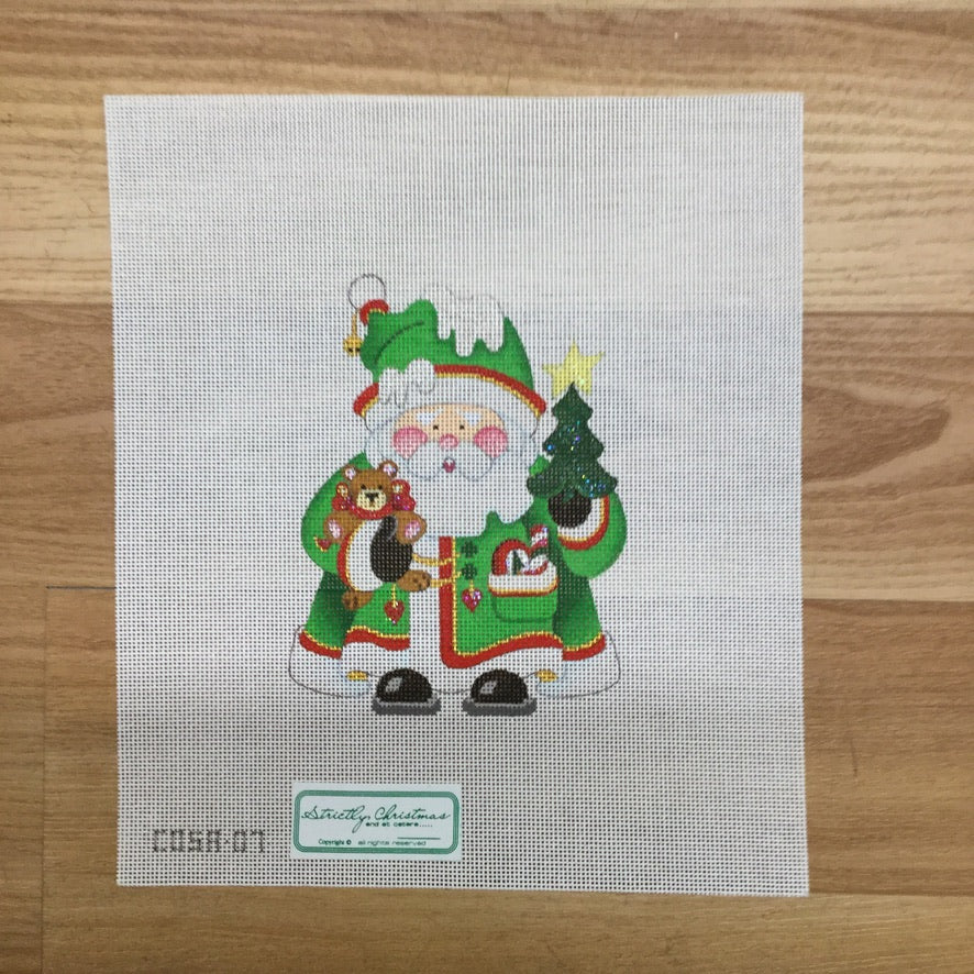 Teddy Bear Squatty Santa Canvas - needlepoint