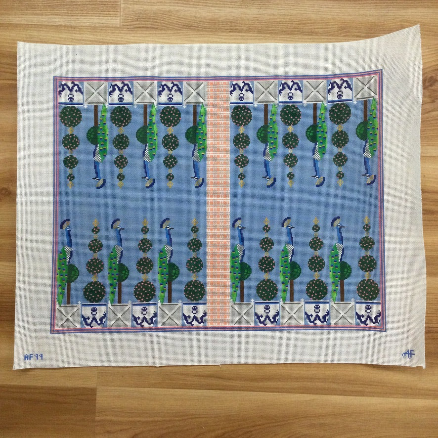 Peacock Backgammon Board Needlepoint Canvas - needlepoint