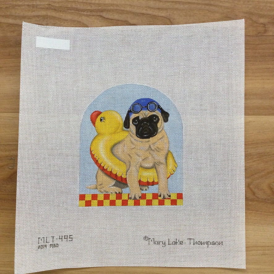 Pug Swimmer Needlepoint Canvas