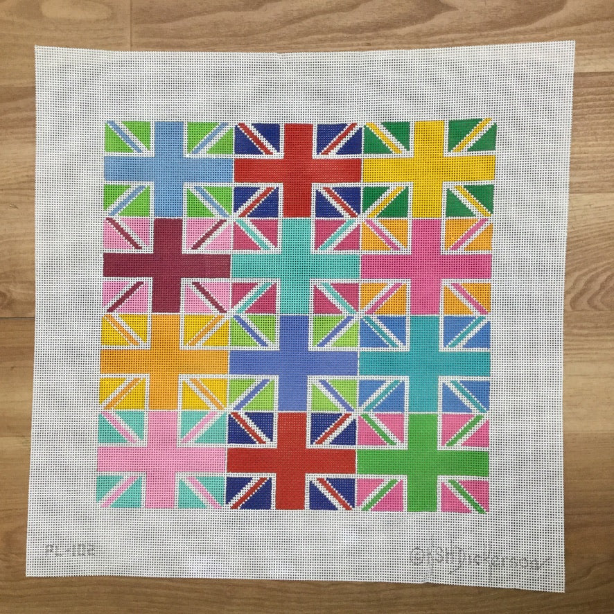 Union Jack Multi Colored Blocks Canvas