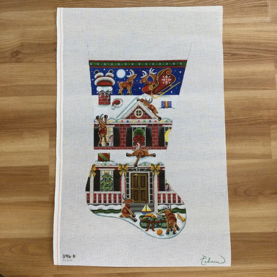 Bad Landing Christmas Stocking Canvas - needlepoint