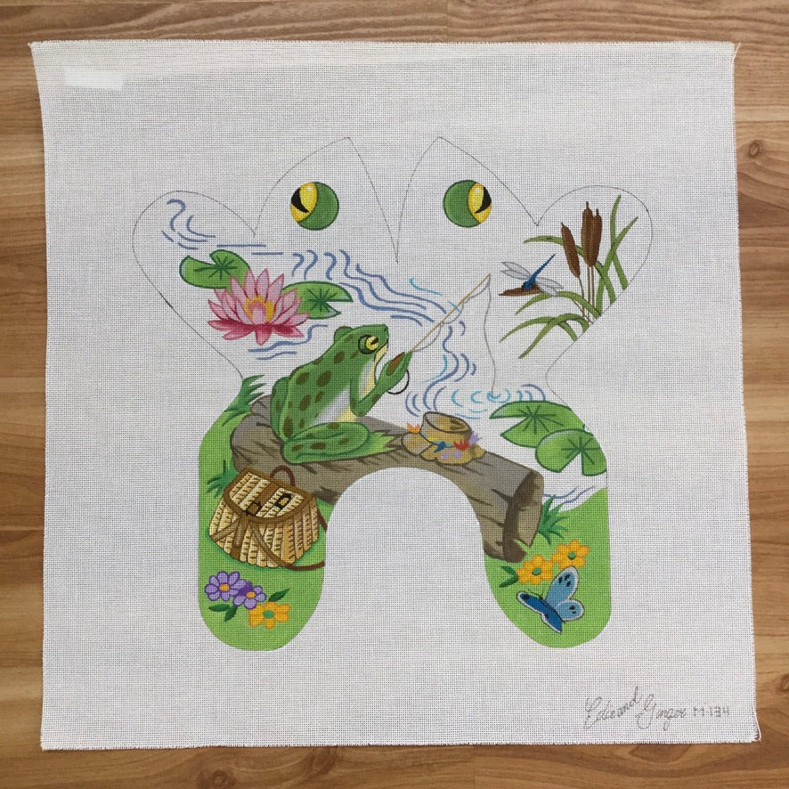 Fishing Frog Canvas - needlepoint