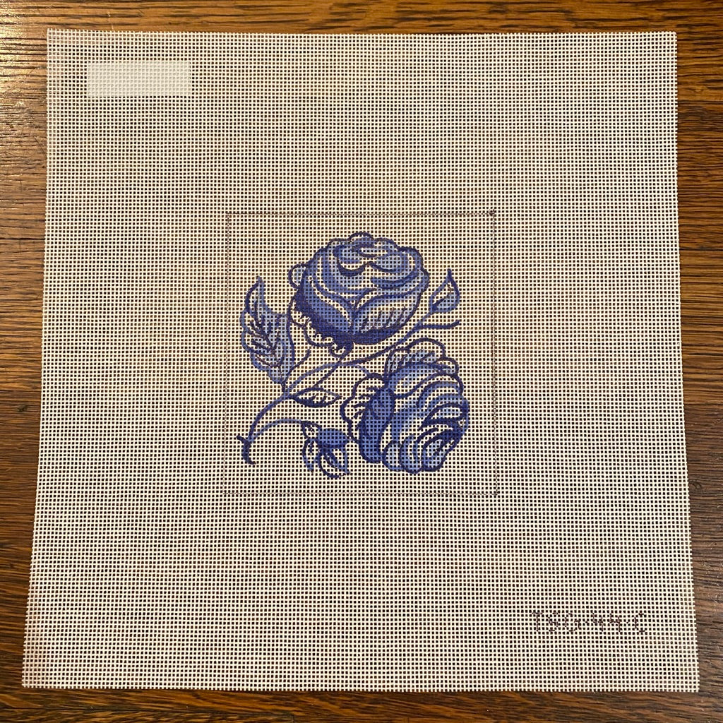 Roses Delft Tile Needlepoint Canvas - needlepoint