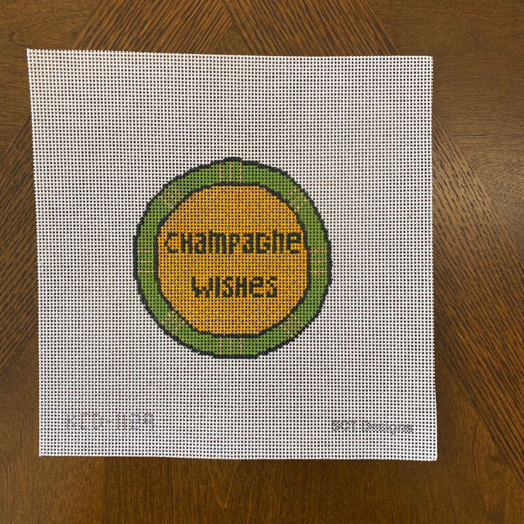 Champagne Wishes Round Canvas-Needlepoint Canvas-KC Needlepoint