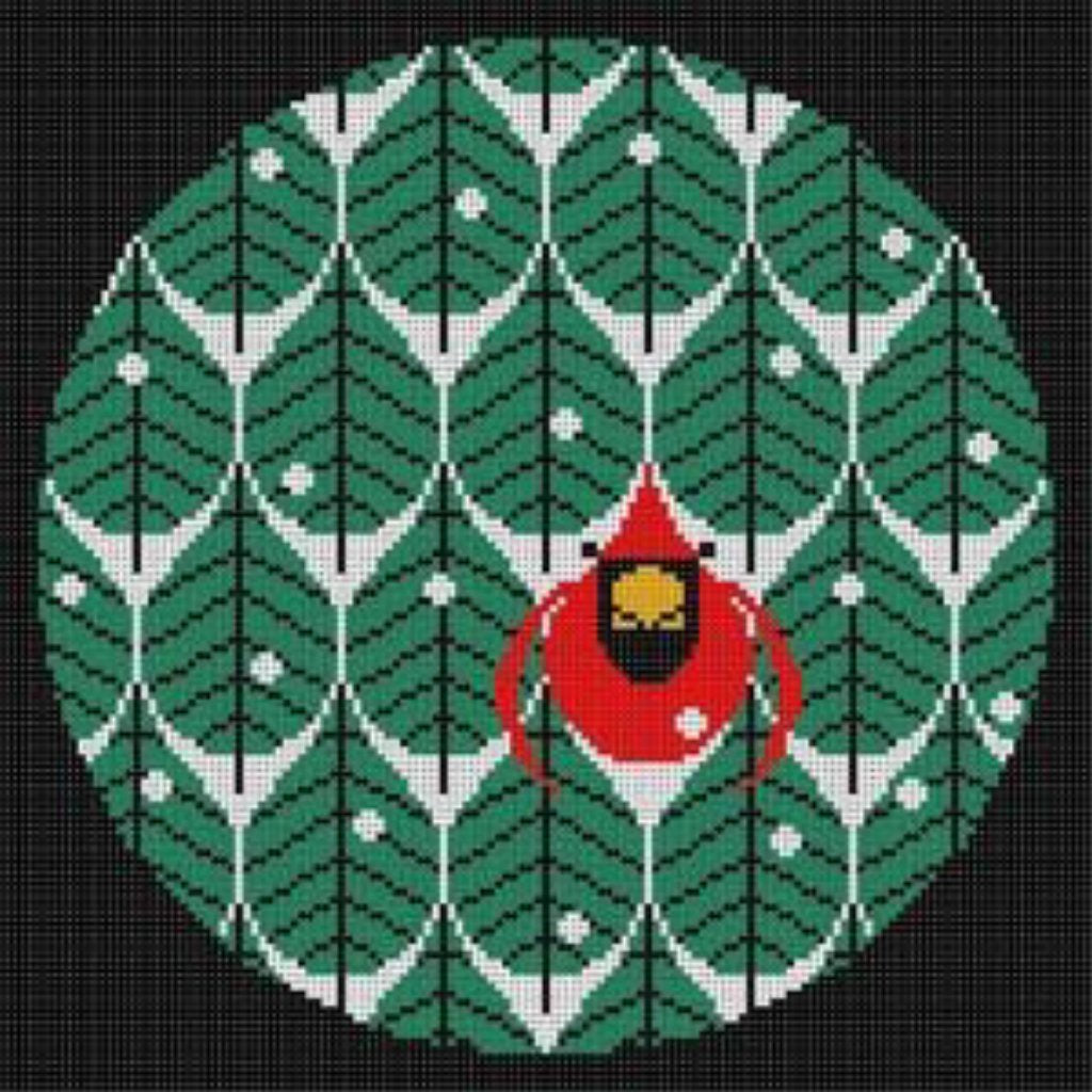 Coniferous Cardinal Canvas - KC Needlepoint