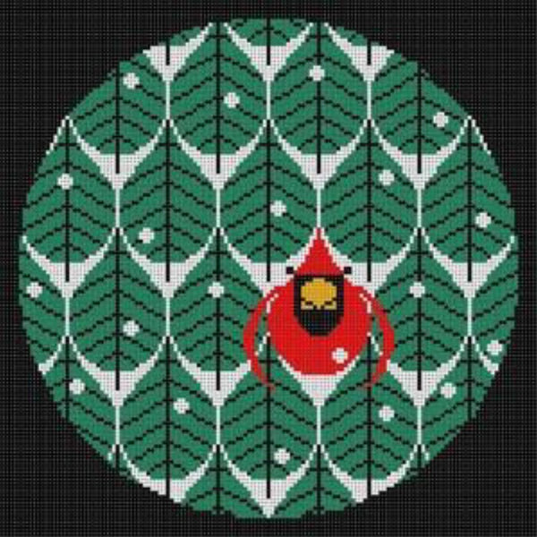Coniferous Cardinal Canvas - needlepoint