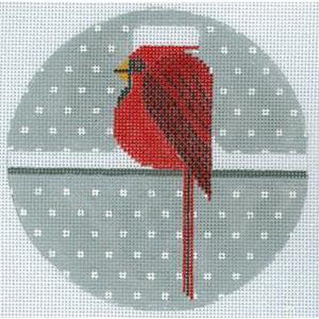 Cool Cardinal Round Canvas - needlepoint