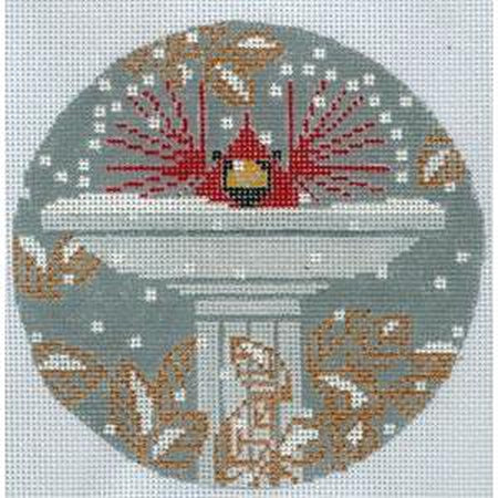 Brrr Bath Round Canvas - KC Needlepoint