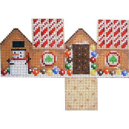 Marshmallow Snowman Cottage Canvas - needlepoint