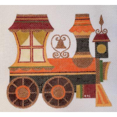 Autumn Train Engine Canvas-Needlepoint Canvas-Raymond Crawford-KC Needlepoint