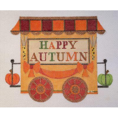 Autumn Train Caboose Canvas-Needlepoint Canvas-Raymond Crawford-KC Needlepoint