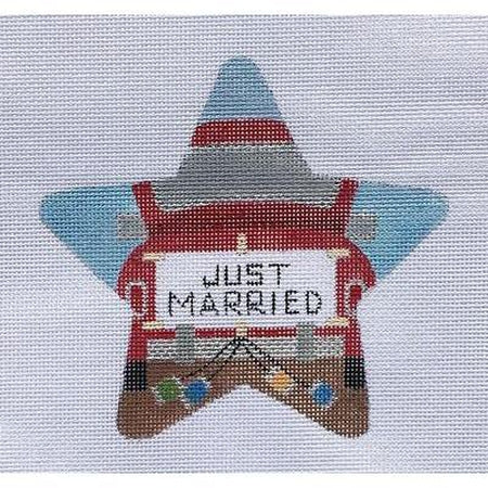 Just Married Star Canvas-Needlepoint Canvas-Raymond Crawford-KC Needlepoint