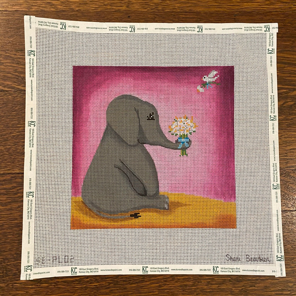 Simon the Elephant Canvas-Needlepoint Canvas-KC Needlepoint