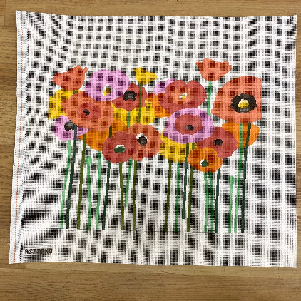 Poppies Pink and Orange Canvas - needlepoint