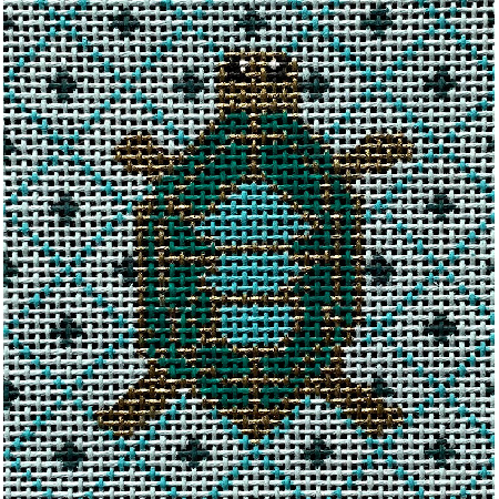 "Turtle 3"" Square Insert Canvas-Needlepoint Canvas-Vallerie Needlepoint-KC Needlepoint"