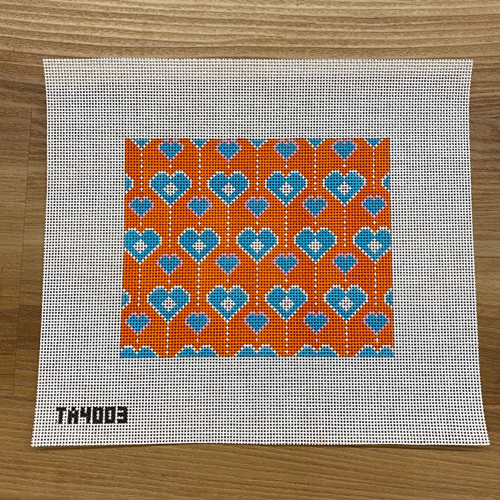 Olivia Orange Hearts Needlepoint Canvas - needlepoint