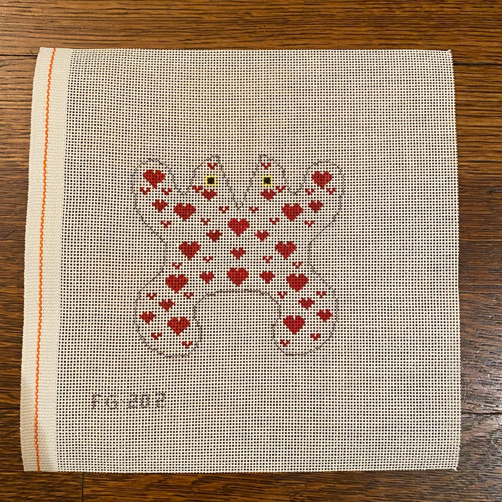 Red Hearts Frog Canvas - KC Needlepoint