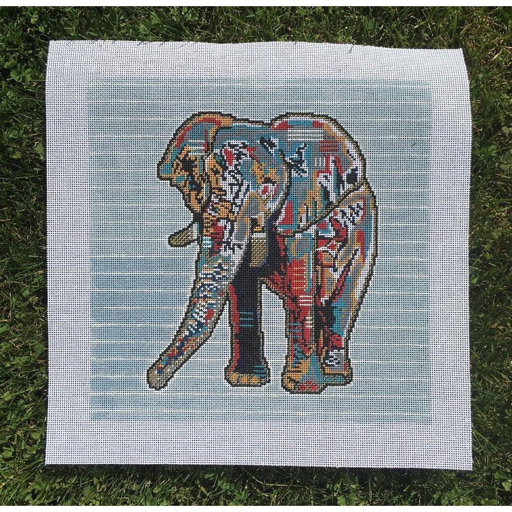 Edgar the Elephant Needlepoint Canvas-Needlepoint Canvas-Thorn Alexander-KC Needlepoint