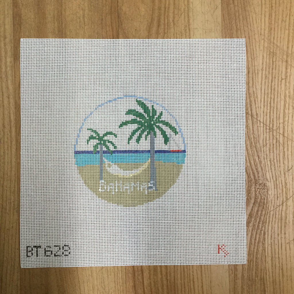 Bahamas Travel Round Canvas-Needlepoint Canvas-KC Needlepoint