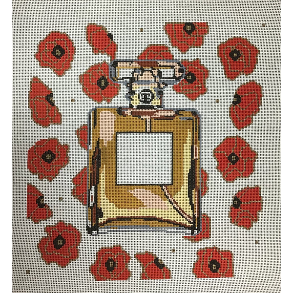 Perfume Bottle on Poppies Needlepoint Canvas