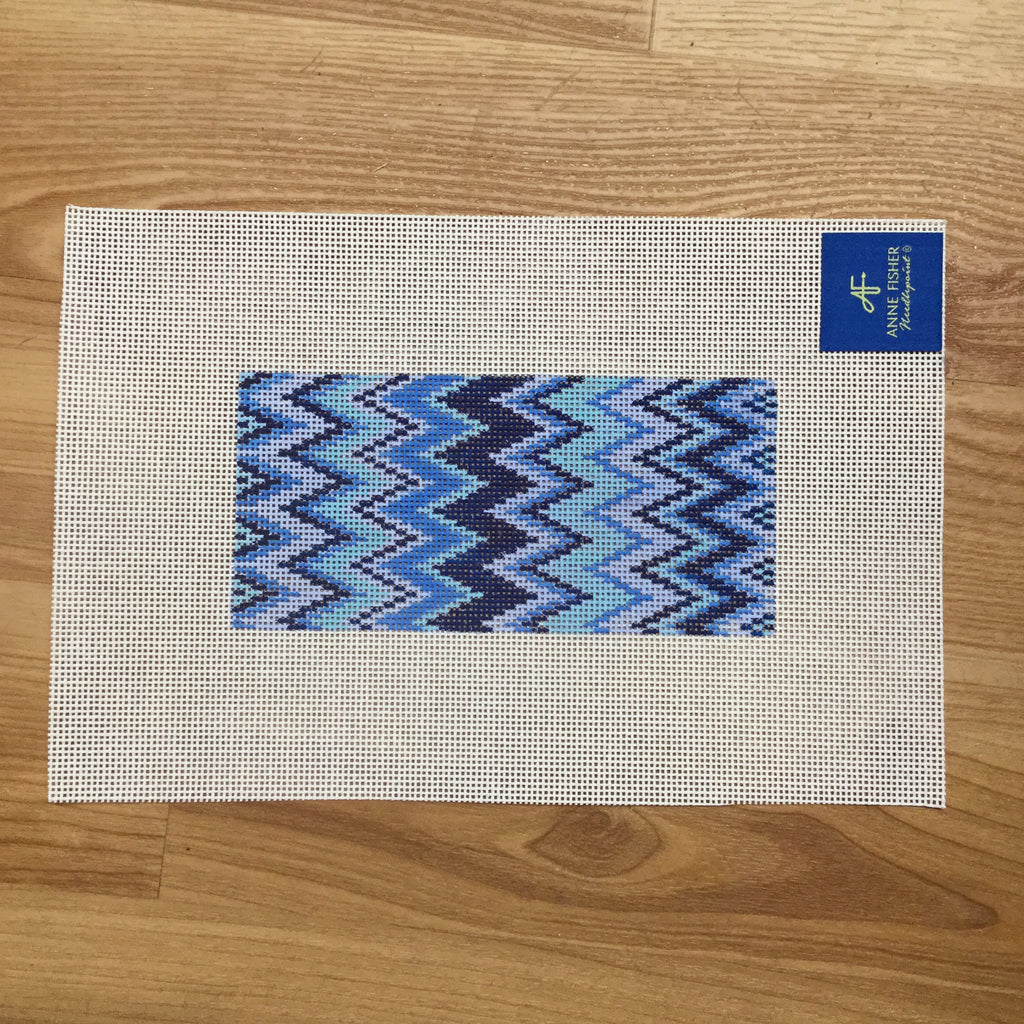 Blue Zig Zag Eyeglass Case Canvas - needlepoint
