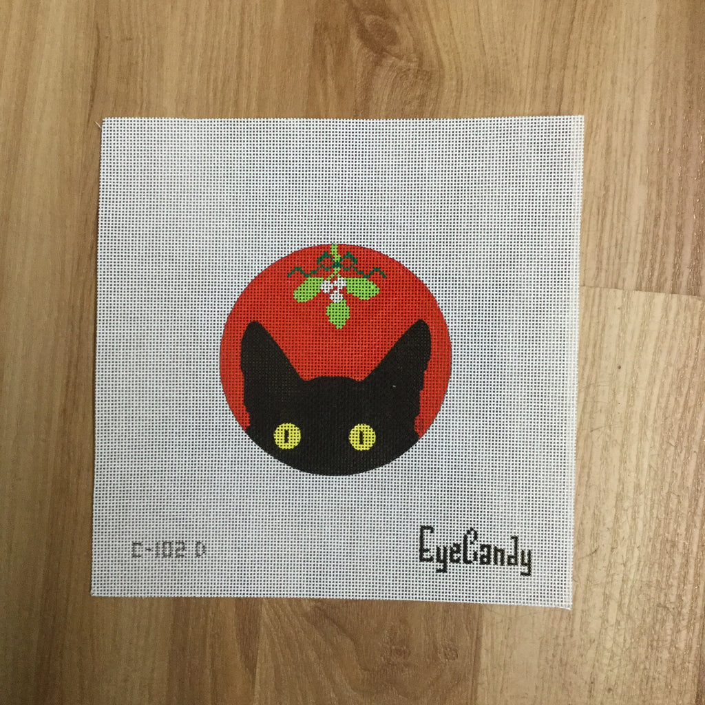 Mistletoe Kitty Canvas-Needlepoint Canvas-EyeCandy Needleart-KC Needlepoint