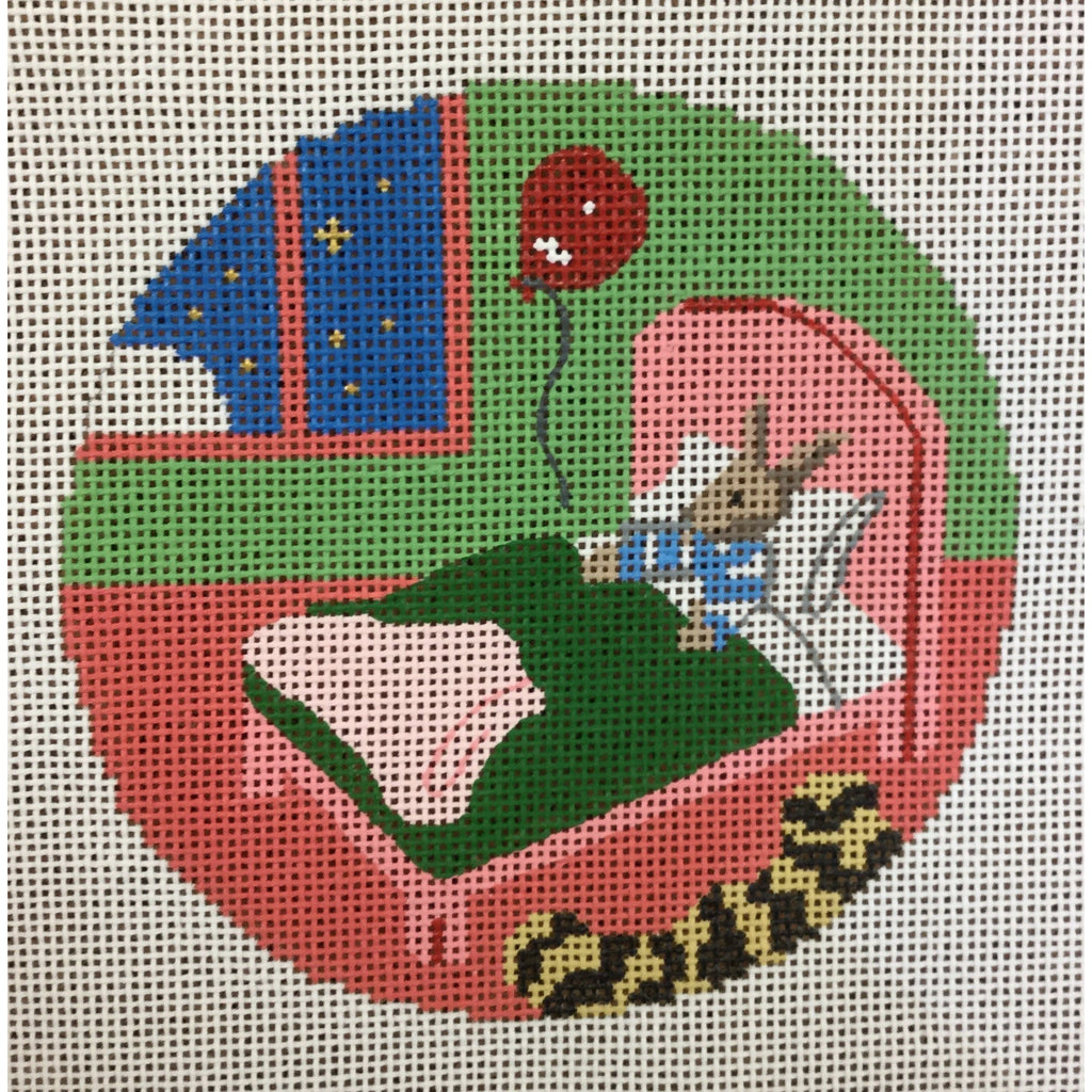 "Bunny in Bed 4 1/2"" Round Ornament Canvas - needlepoint"