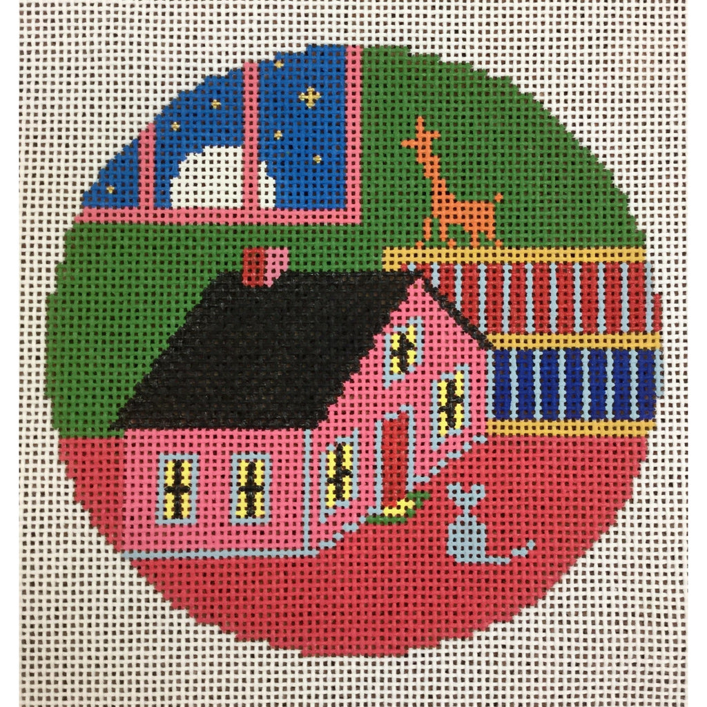 "Toy House and Mouse 4 1/2"" Round Ornament Canvas-Needlepoint Canvas-Silver Needle-KC Needlepoint"