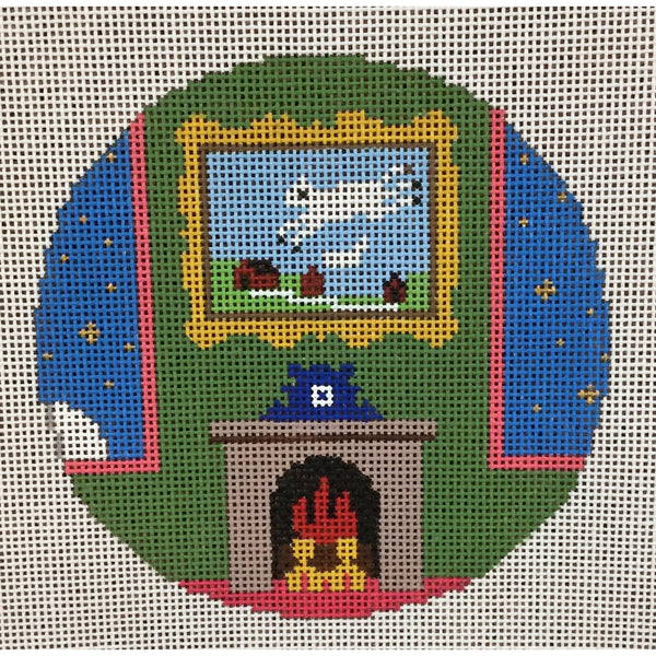 "Cow Jumping over the Moon 4 1/2"" Round Ornament Canvas - needlepoint"