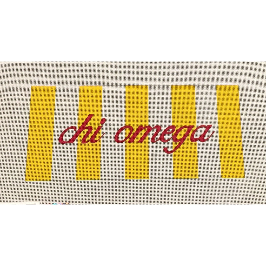 Chi Omega with Stripes Canvas-Needlepoint Canvas-Painted Pony-KC Needlepoint