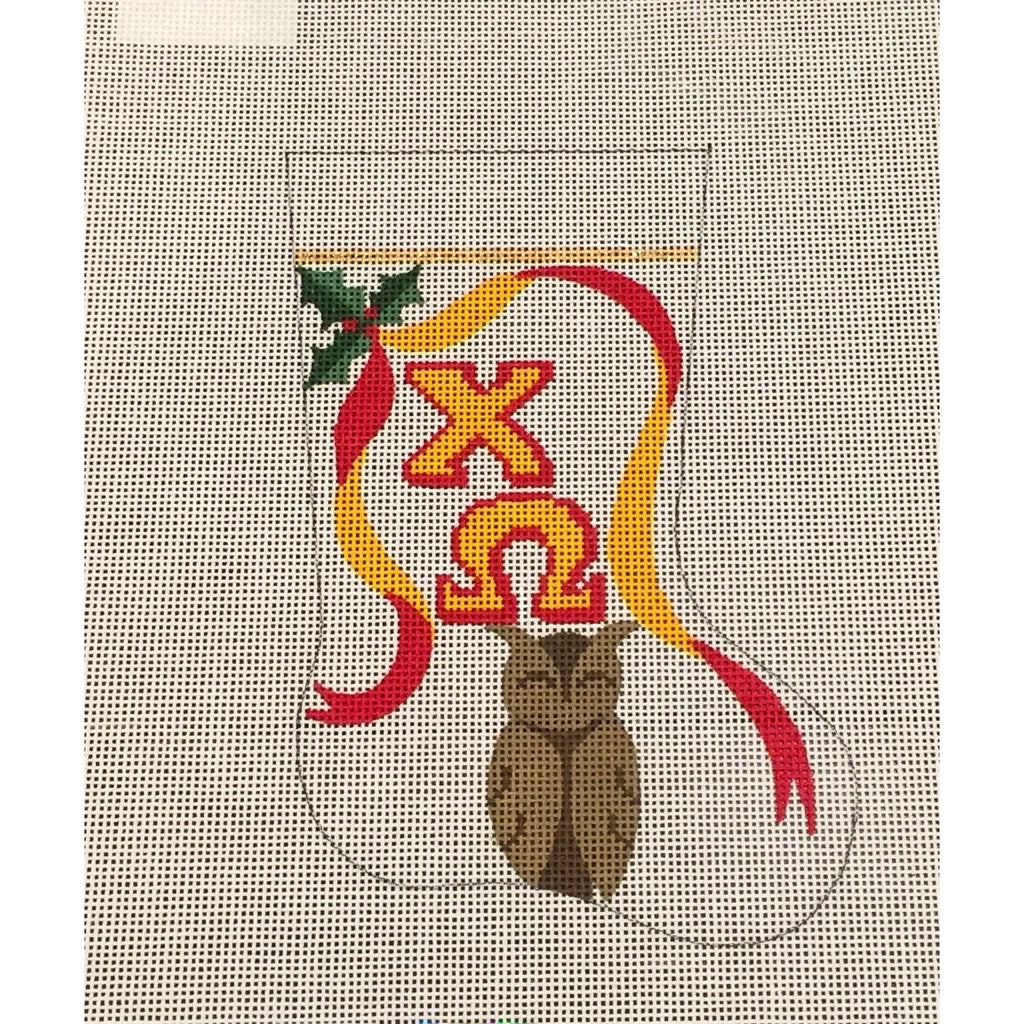 Chi Omega Owl Mini Sock Canvas-Painted Pony-KC Needlepoint