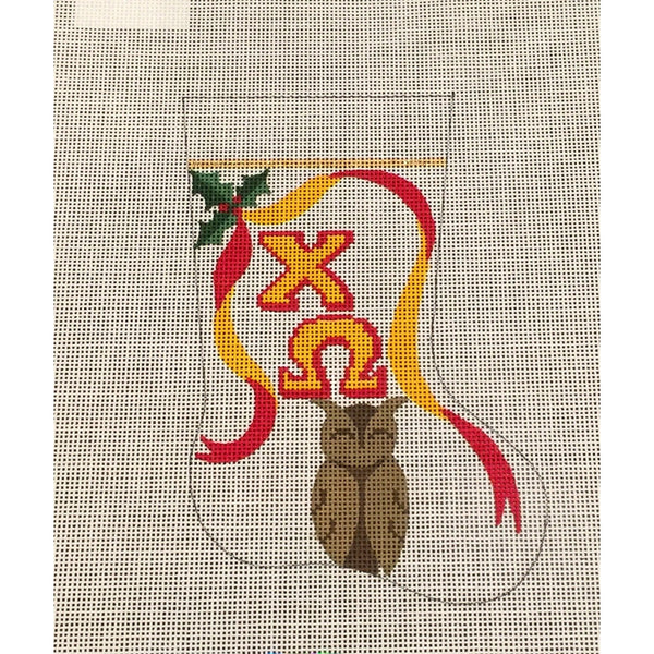 Chi Omega Owl Mini Sock Canvas