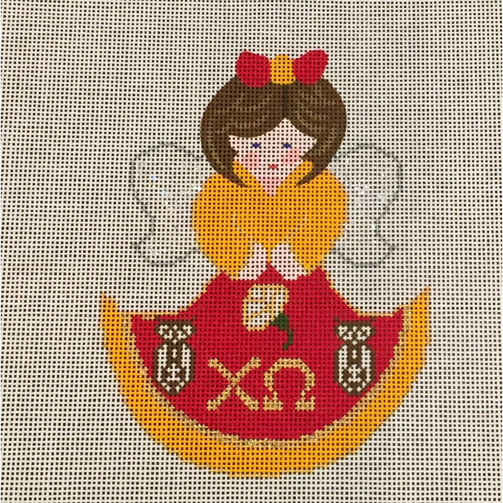 Chi Omega Angel Canvas-Painted Pony-KC Needlepoint