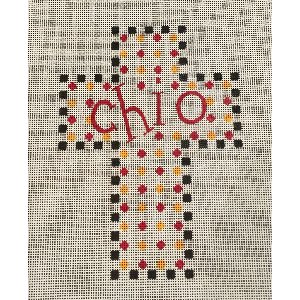 Chi Omega Cross Canvas-Needlepoint Canvas-Painted Pony-KC Needlepoint