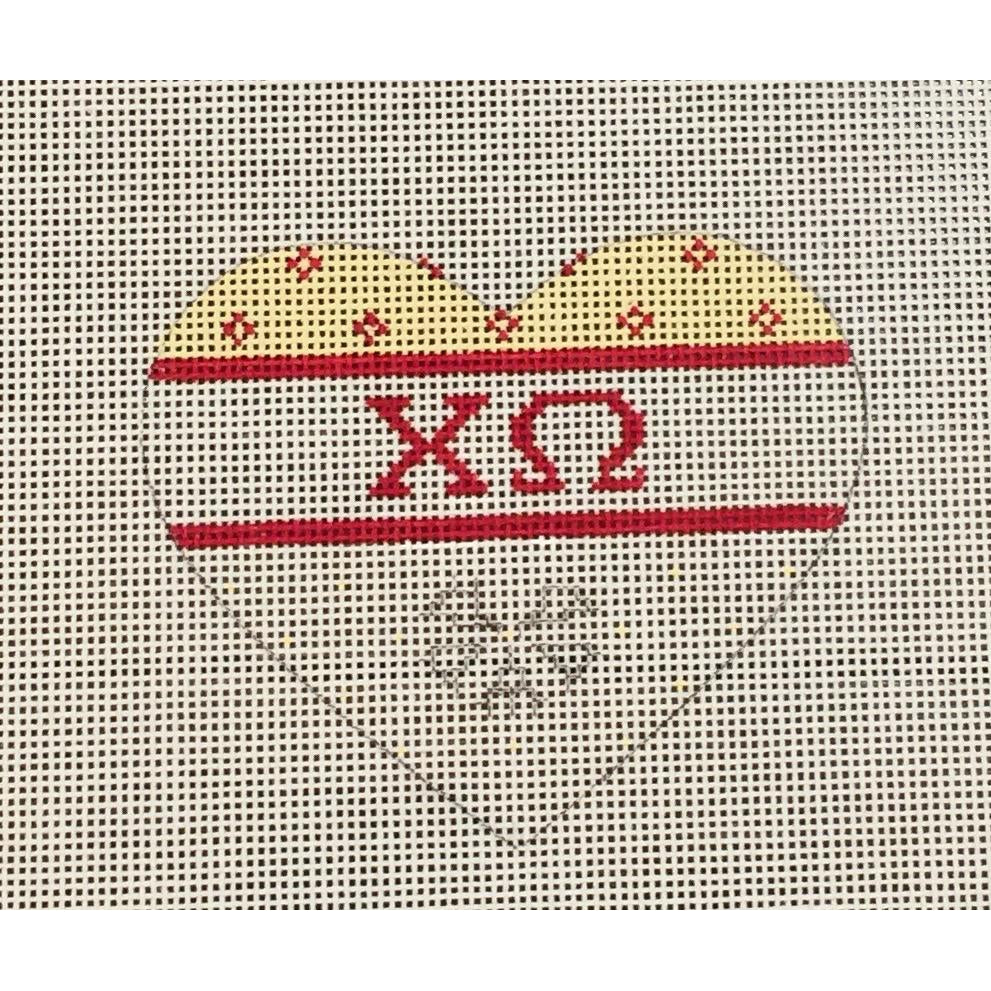 Chi Omega Small Heart Canvas-Painted Pony-KC Needlepoint