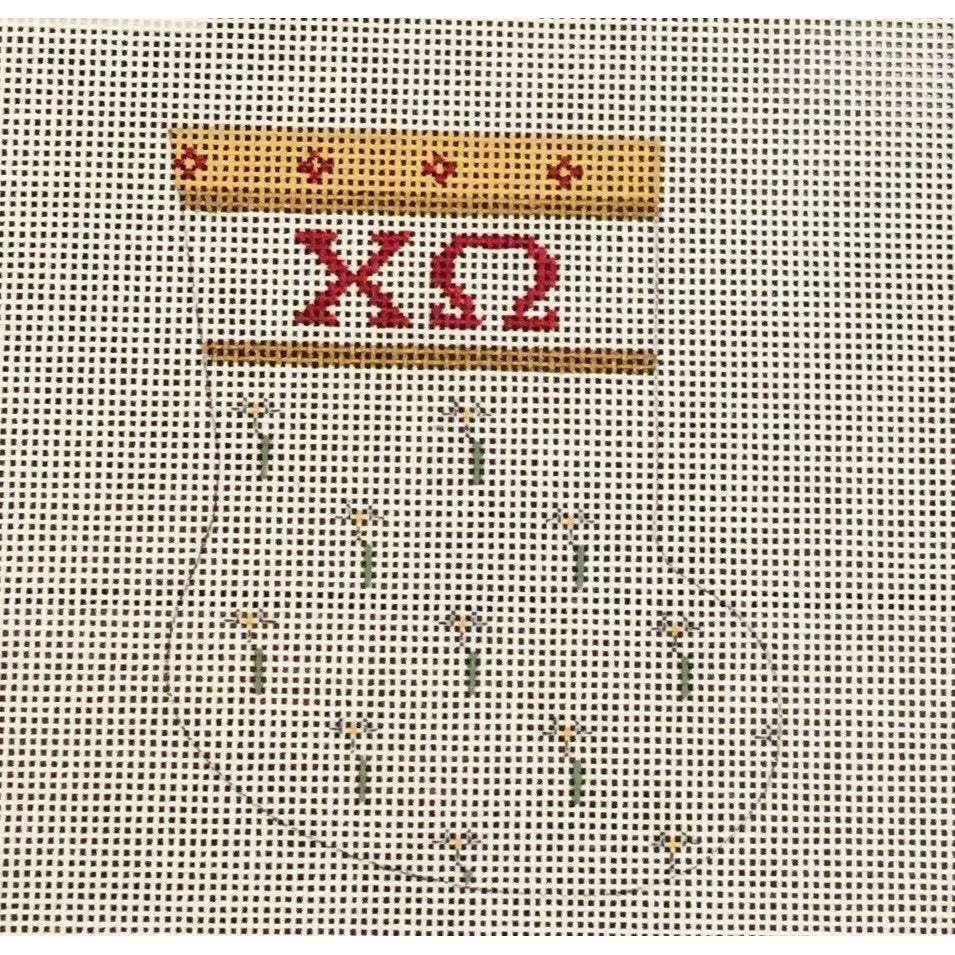 Chi Omega Mini Sock Canvas-Painted Pony-KC Needlepoint