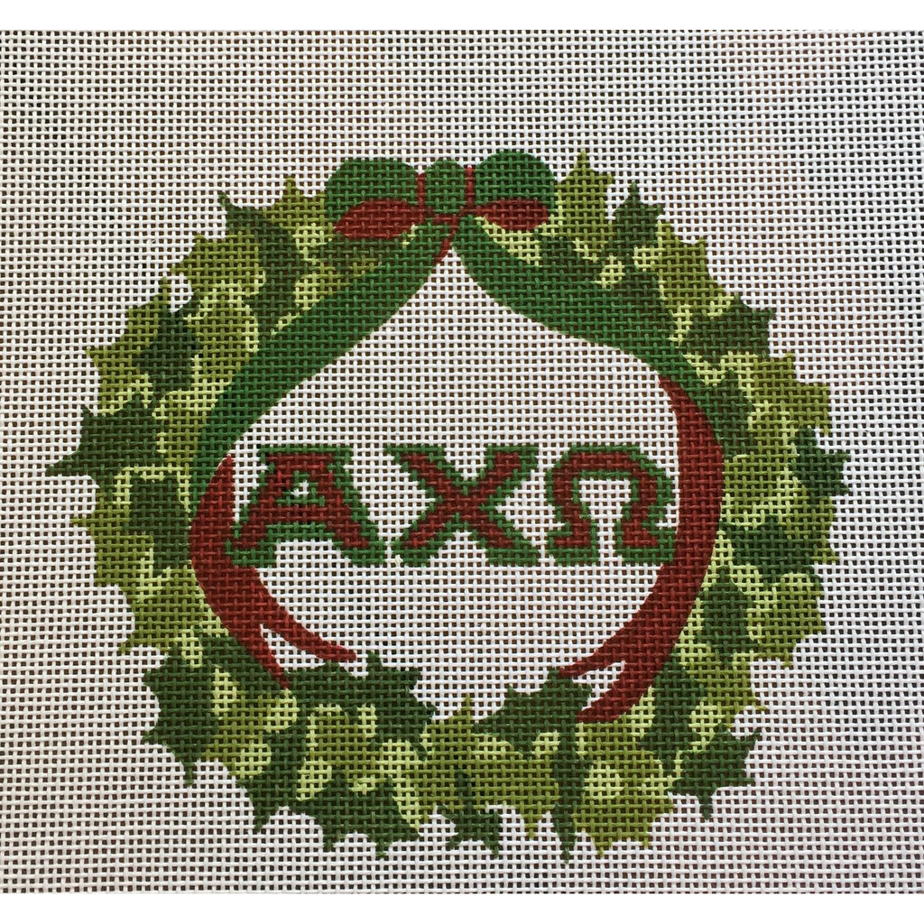 Alpha Chi Omega Wreath Canvas-Needlepoint Canvas-Painted Pony-KC Needlepoint