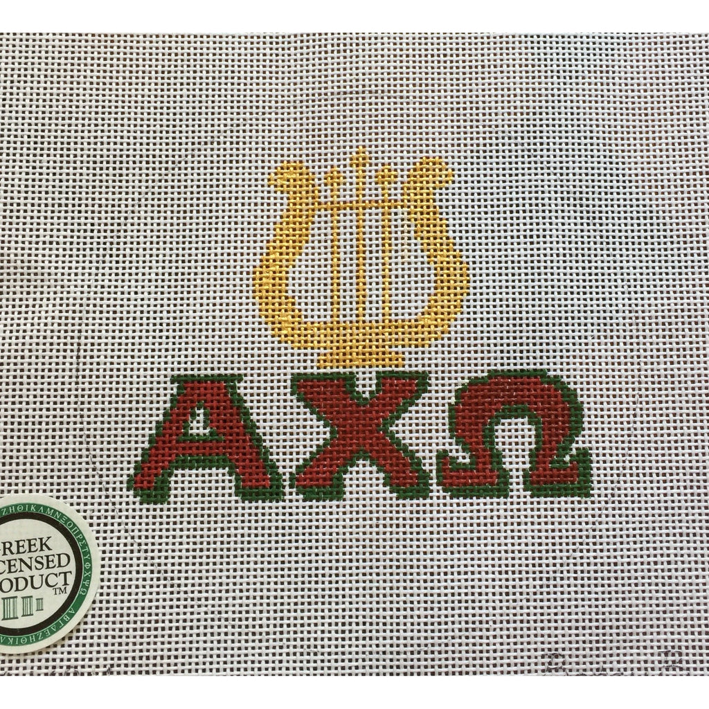 Alpha Chi Omega/Lyre Canvas-Needlepoint Canvas-Painted Pony-KC Needlepoint
