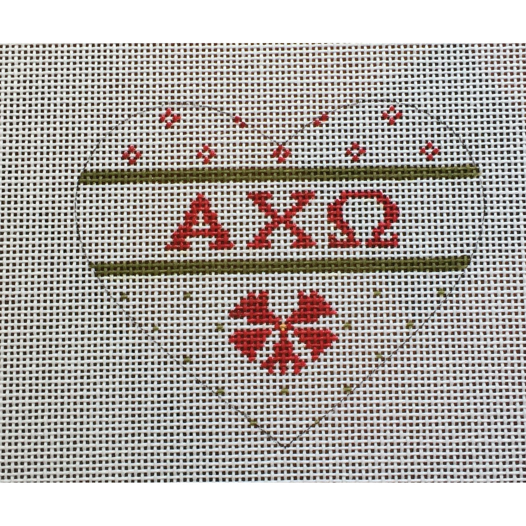 Alpha Chi Omega Small Heart Canvas-Needlepoint Canvas-Painted Pony-KC Needlepoint