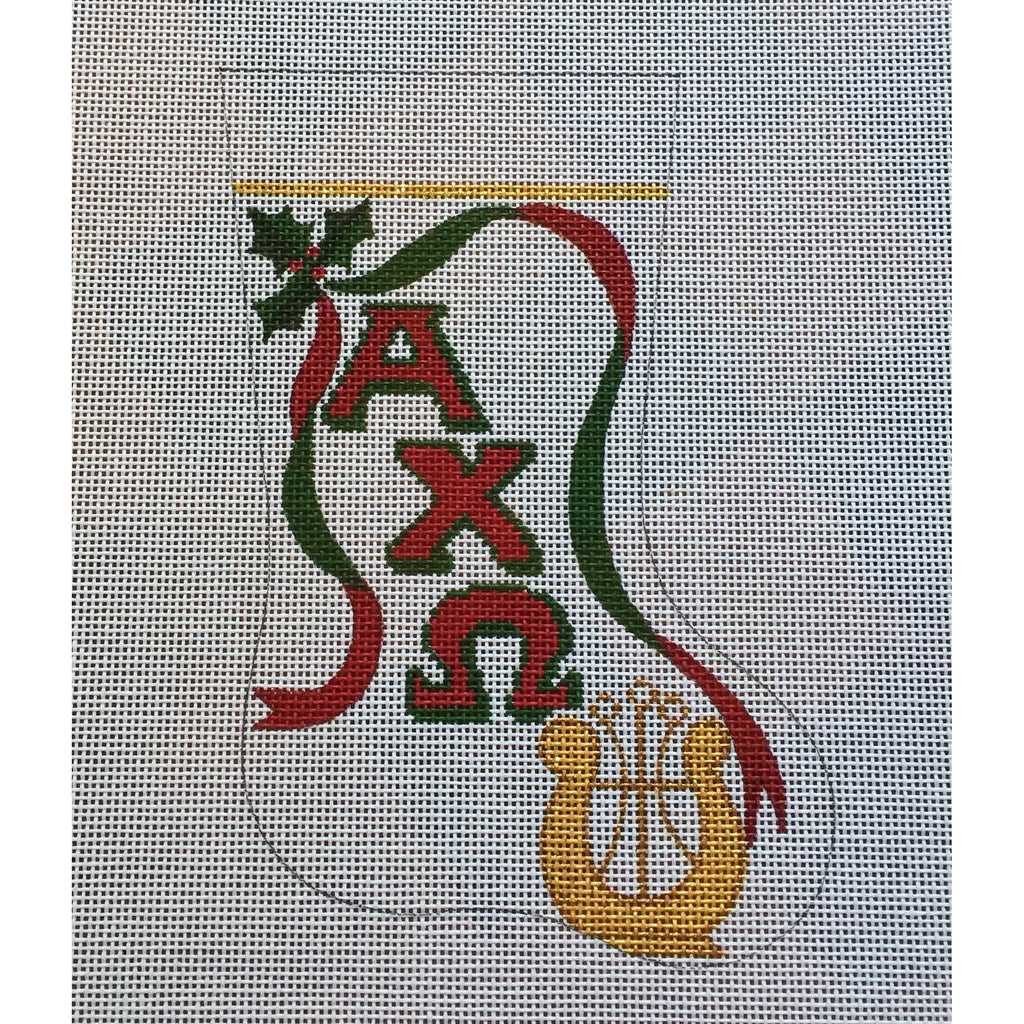 Alpha Chi Omega Lyre Mini Sock Canvas-Needlepoint Canvas-Painted Pony-KC Needlepoint
