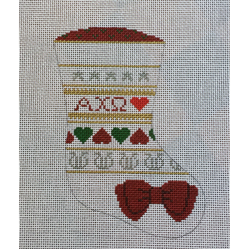 Alpha Chi Omega Mini Sock Canvas-Needlepoint Canvas-Painted Pony-KC Needlepoint