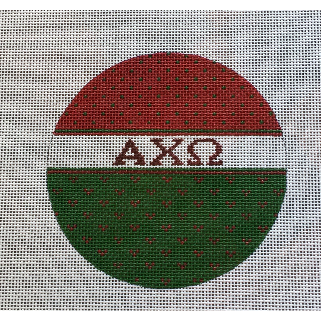 Alpha Chi Omega Round Canvas-Needlepoint Canvas-Painted Pony-KC Needlepoint