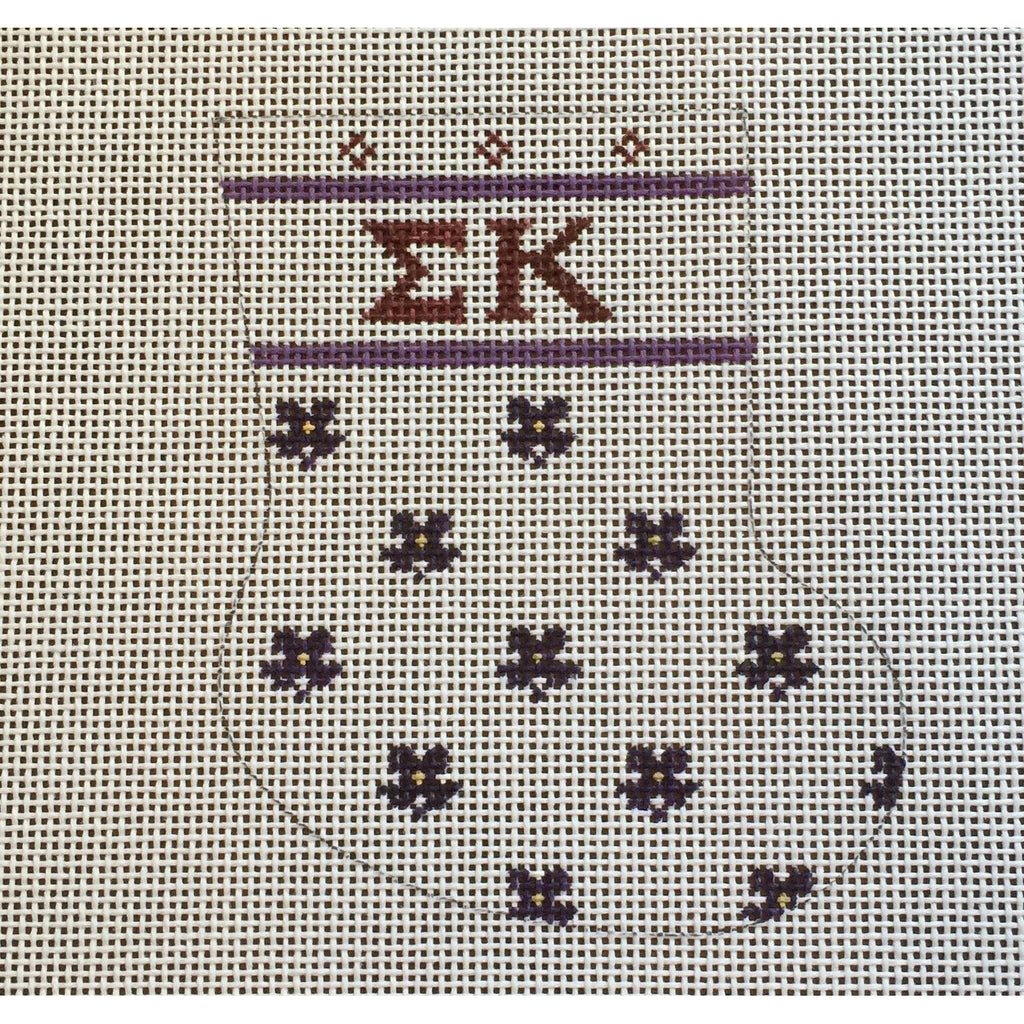 Sigma Kappa Mini Sock Canvas-Needlepoint Canvas-Painted Pony-KC Needlepoint