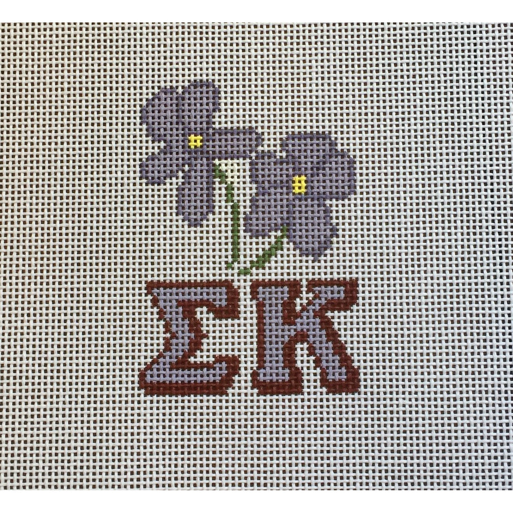 Sigma Kappa/Violet Canvas-Needlepoint Canvas-Painted Pony-KC Needlepoint