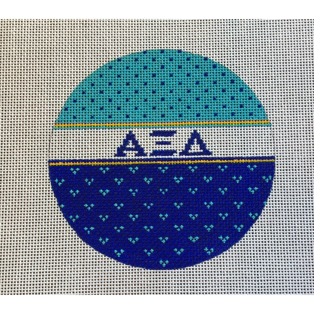 Alpha Xi Delta Round Canvas-Needlepoint Canvas-Painted Pony-KC Needlepoint