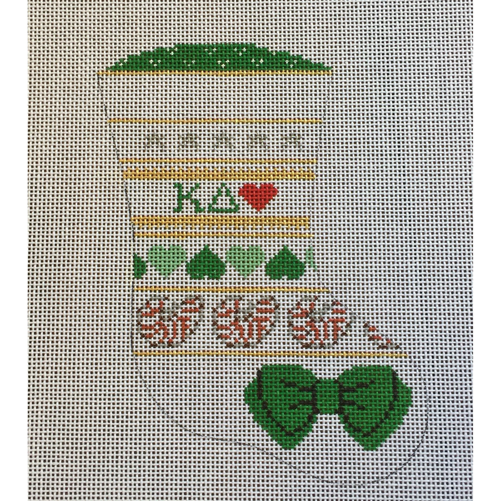 Kappa Delta Mini Sock Canvas-Needlepoint Canvas-Painted Pony-KC Needlepoint