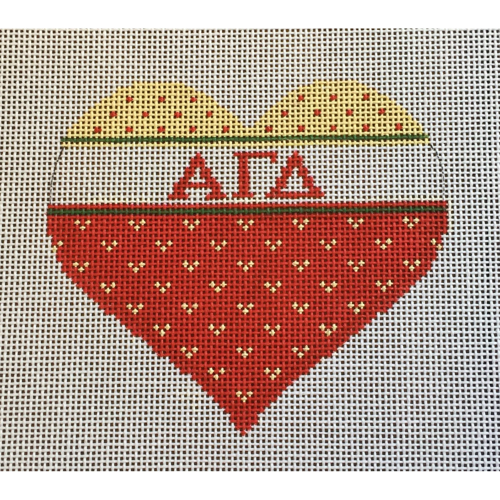 Alpha Gamma Delta Heart Canvas-Needlepoint Canvas-Painted Pony-KC Needlepoint